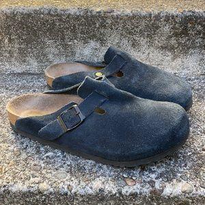 Birkenstock Boston 40 9 - 9.5R Suede Leather Blue